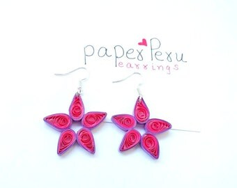 Pink and purple paper quilled earrings