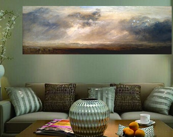 Storm over Landscape Reproduction Large Abstract Landscape Oil Painting, Wall Decor, Fine Art, 48 inches x 16 inches