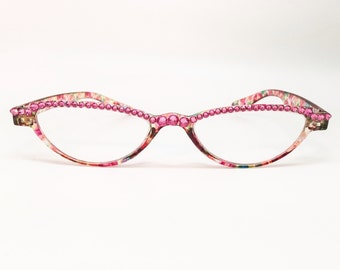 Itty Bitty - Pink Chameleon (Small Reading Glass Frames with Swarovski Crystal Bling)