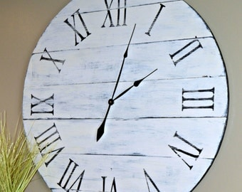 "36"" Large Oversized Distressed Wood Wall Clock, Antique White with Black Roman Numerals"