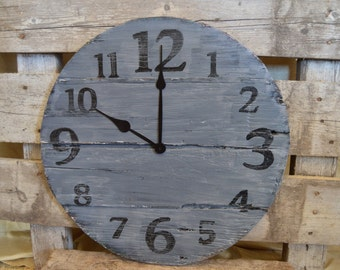 """24 """" Large Oversized Distressed Wood Wall Clock, gray with black numbers"""