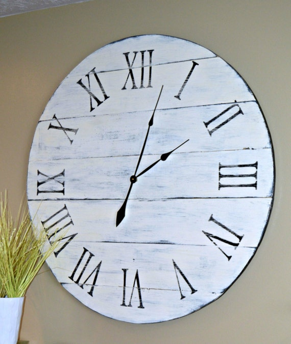 36 Large Oversized Distressed Wood Wall Clock Antique