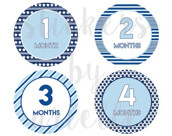 Month by Month Baby Boy Stickers - Stars and Stripes