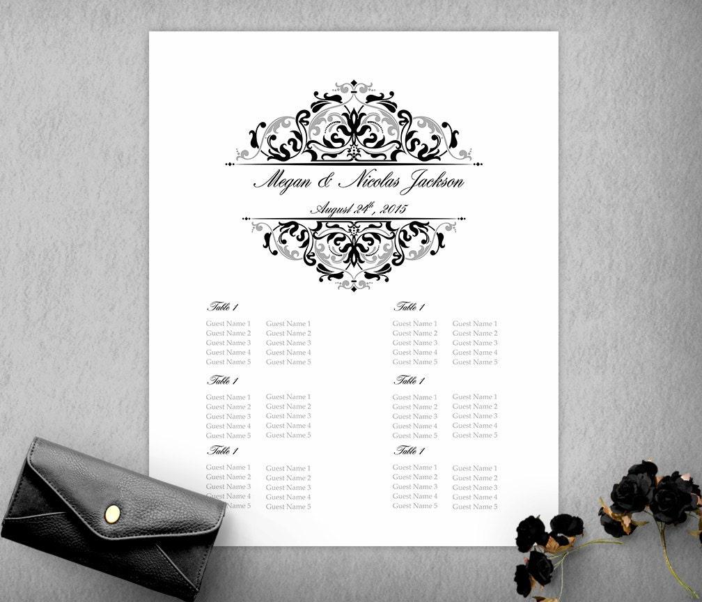 Black Silver Elegant Wedding Seating Chart Template, Seating Plan ...