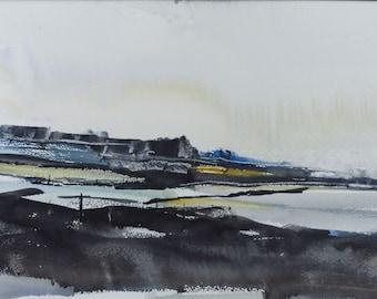 EAST from PRAWLE POINT, Devon, June 2016. Original Watercolour Landscape Painting.
