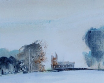 SNOW CHRISTMAS CHURCH Warwickshire. Original Watercolour Landscape Painting.