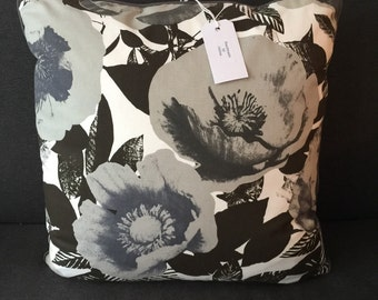 Black and White Flowers Cushion