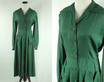 40s Emerald Green Midi Button-up Dress