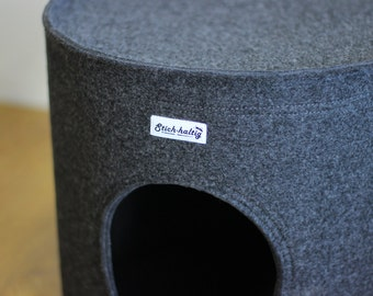 Felt Cat bed, Cat house, Cat cave, dark grey
