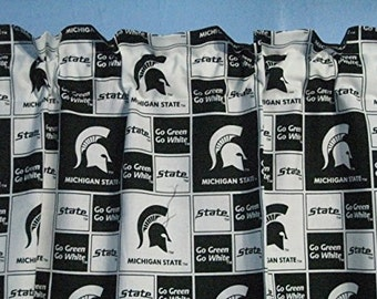 "GO GREEN Go WHITE Michigan State university 80"" Drop 42"" Across Window Curtains"