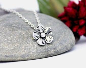 Lovely Flower Necklace, Flower Pendant, Cute Charm Necklace, Cute Flower Necklace, Everyday Necklace