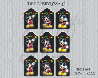 Mickey Mouse Thank you Tags instant download, Printable Mickey Mouse Thank you Tags , Mickey Party Gift Favor Label Tag, Mickey Mouse Invite