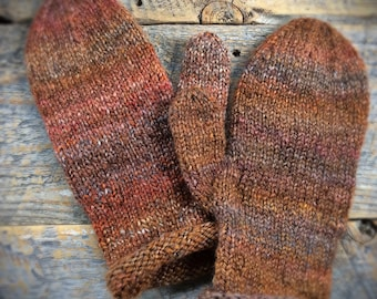 Winter mittens her - womens wool mittens - knit mittens, handknitted mittens, warm mittens, one of a kind, brown knit mittens, brown mittens