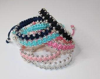 silver bead macrame bracelet - friendship bracelet -, adjustable bracelet - bollywood - beaded bracelet