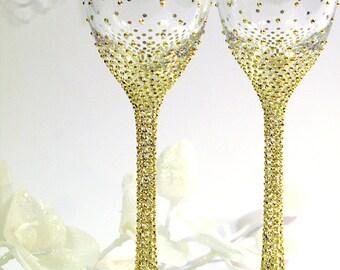 Gold Gatsby Style wedding Champagne Flutes/ Gold Wedding glasses Pesronalized, Set of 2, Gold Crystal toasting flutes