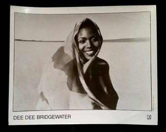 Original 1980's Dee Dee Bridgewater Afro Blue 8x10 Black And White Promo Press Music Photo Photograph Electra Records