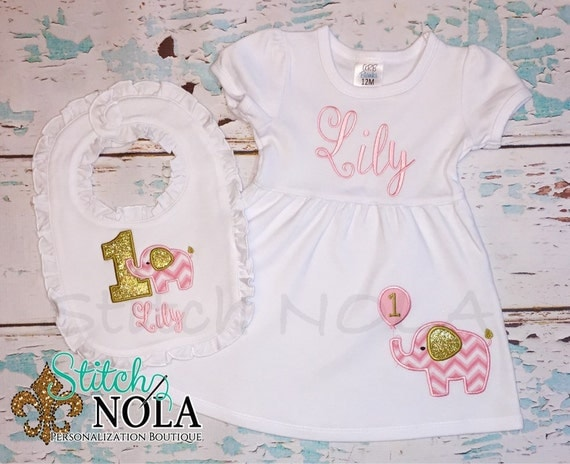 Elephant Dress & Bib Birthday Set