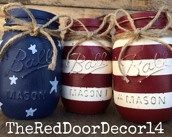 American Flag Pint Mason Jars