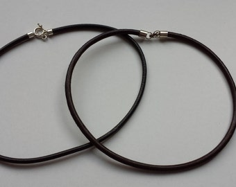 Silver Leather Cord Necklace