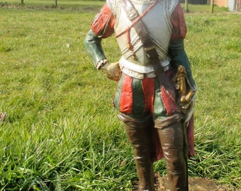 Very Rare Large Plaster Antique Statue Spanish Knight Conquistador Church 26.37""