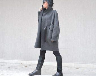 Extravagant fashion grey wool jacket, Italian wool coat, high neck collar, winter coat, warm winter jacket, plus size coat for women XS - XL