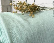 Stonewashed Light Aqua Green Linen Fabric Sample- Light Mint Linen Fabric-Dense Light Weight Medium Thickness Linen