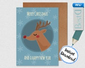Merry christmas and new year greeting card,Digital deer holidays greeting card,Instant Download new year greeting card,digital snow  paper
