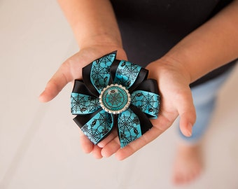 Halloween Hair Bow, Girls Hair Bow, Spider Hair Bow, Spiderweb Hair Bow, Medium Hair Bow, Hair Accessory