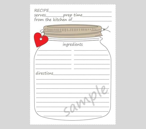 printable mason jar recipe cards for a bridal wedding