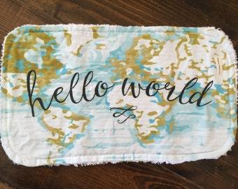 Hello World burp cloth