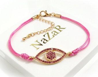 Evil Eye Bracelet - Hot Pink Evil Eye Friendship bracelet with Gold Plating elements - Arrives in a white gift box!