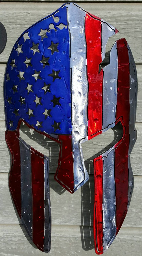 America spartan metal art wall hanging by mortonsmetalart for Art sites like etsy