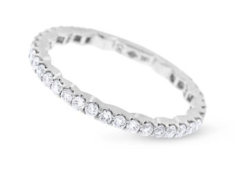 0.53 CT Natural Round Diamond Eternity Band in Solid 18k White Gold