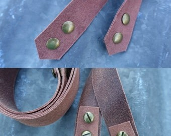 Leather Straps for Purses - Pair of Premade Genuine Leather Straps, DIY, Brass Rivets, Handmade Supply, Distressed Leather Straps by Jen Fox