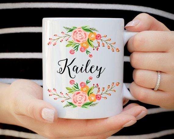 Floral Bridesmaid Mug, Bridal Party Mugs, Engagement Gift, Wedding Mugs, Bride Gift, Floral Wedding Mug, Proposal Present