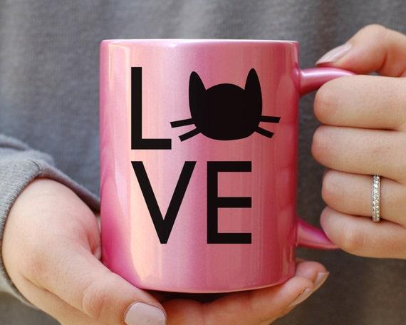 Pink Metallic Cat Mug, Cat Mug, Crazy Cat Lady Mug, Gift for Cat Lover, Gift For Cat Lady, Cat Christmas Gift, Its Not Drinking Alone