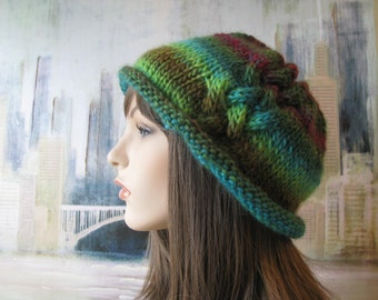 Women's Knit Hat, Winter Hat, loose fitting, chunky yarn, multi-colored, warm and soft, casual boho style, 'Kerry'.