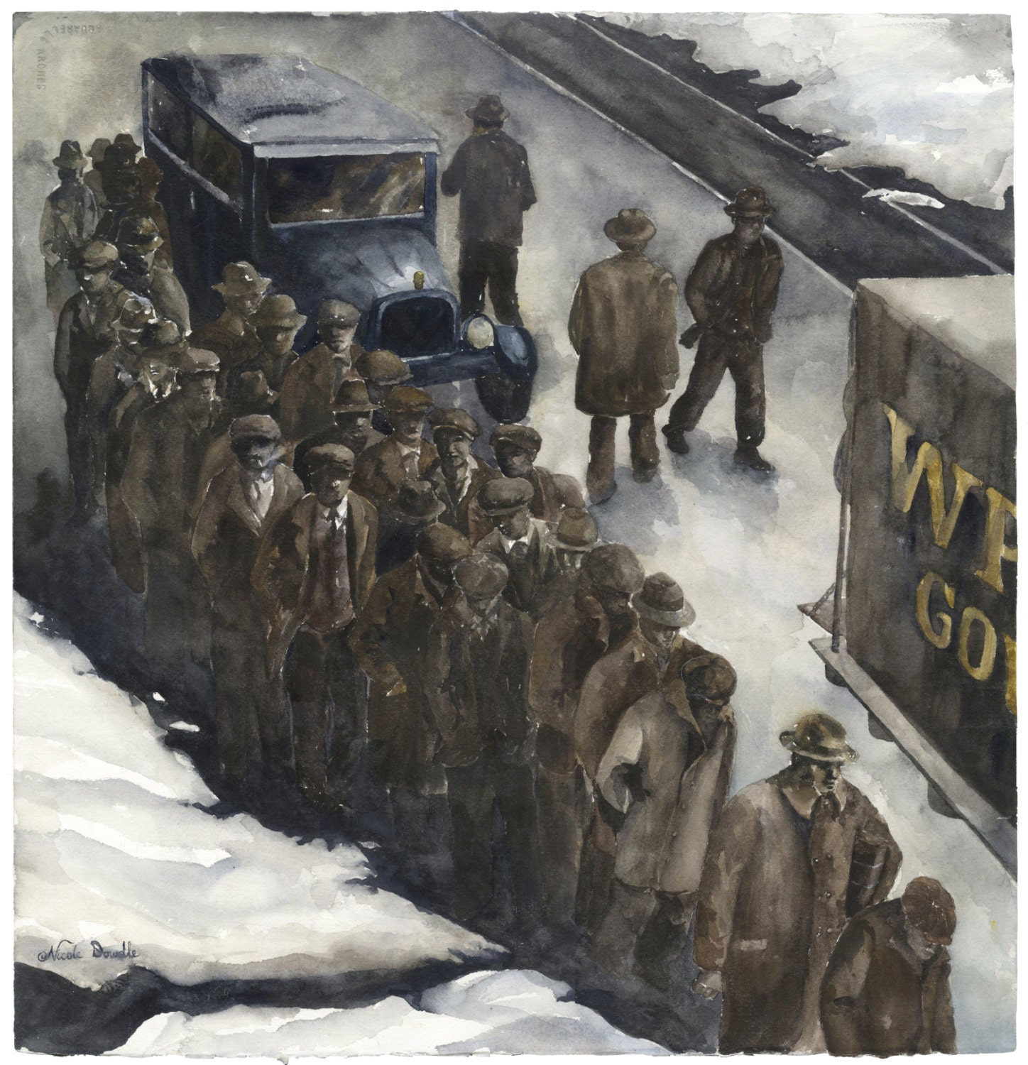 Great Depression Watercolor Painting Print // WPA