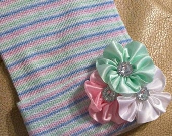 Newborn Hospital Hat w/ Pink, Green and White Flower Applique and Rhinestones. Infant Hat. Choice of Hat Selec