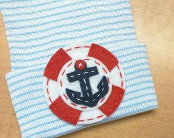 New Baby Anchor Hospital Hat. Baby Beanie Baby Hat. Newborn Hospital Hat.  Newborn Beanies. Nautical Anchor Great Gift and
