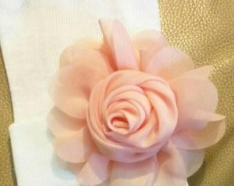 Newborn Hospital White Beanie w/ Peach Chiffon Flower. Hospital Beanie. Simple and Sweet. Great Gift. Perfect Going Home Hat!