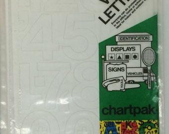 "Chartpack Vinyl Lettering Helvetica Medium NUMBERS White 2"" STICKERS"