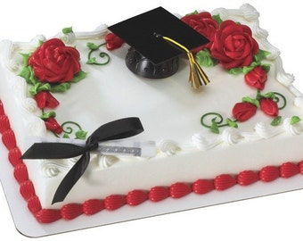 Graduation Cake Topper Kit/ Graduation Cap and Diploma Cake Topper/ Black Graduation Cap and Diploma Cake Kit