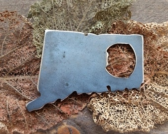 Connecticut State Rustic Steel Recycled Metal Industrial Bottle Opener, CT Travel Gift, wedding favor, Party gift, beer opener