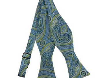 Bold Paisley Bow Tie - Lime Green & Steel Blue