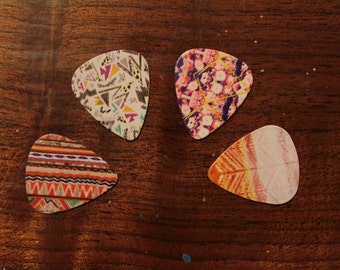 4 PATTERNED guitar picks, Custom Guitar Pick, Custom Guitar Picks, Personalized Guitar Pick
