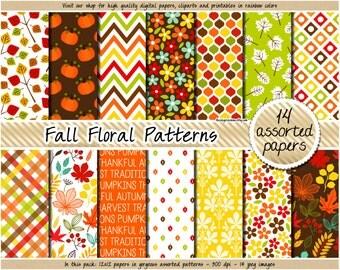 SALE Fall digital paper Pumpkin digital paper Thanksgiving digital paper Harvest scrapbooking red green yellow brown orange clipart