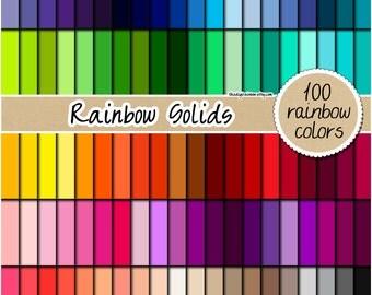 SALE 100 rainbow digital paper rainbow solid digital paper scrapbooking kit pattern printable 12x12 pastel neutral bright light dark colors