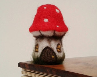 Miniature Needle Felted Fairy House. Felt Toadstool Fairy Cottage, Pixie House.