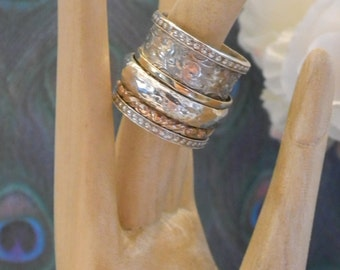 Statement Israeli Wide Spinner Ring Sterling Silver 925 with 3 Small Swivel Rings in Sterling and 9K Gold